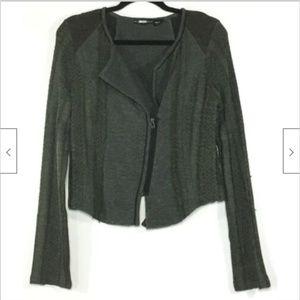 Miss Me Woven Knit Moto Zip Sweater Jacket Gray Md